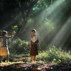 happy morning by Suloara Allokendek - Digital Art People ( child, happy, light. di, morning )