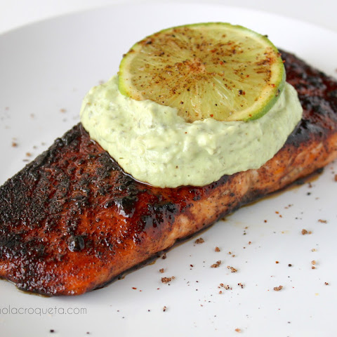Brown Sugar Chili-Rubbed Salmon with Avocado Crema