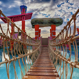 bridge in waterpark by Arik S. Mintorogo - Artistic Objects Other Objects ( water, sky, rope, color, pool, artistic objects, swimming )