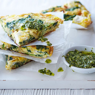 Spinach, Pesto And Goat's Cheese Frittata