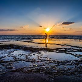 Panorama by Assi Dvilanski - Landscapes Sunsets & Sunrises ( sunset, beautiful, summer, fishing, beach, fisherman, sun, panoramic, panorama )