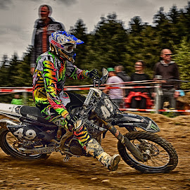Colorful Driving Echibition by Marco Bertamé - Sports & Fitness Motorsports ( 49, curve, colorful, driving, number, race, motocross, dust, clumps, exhibition, alone, fourty-nine, accelerating, competition,  )