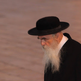 Rabbi, Jerusalem by Rhetta Sweeney - People Portraits of Men ( western wall, religion, jerusalem, jewish, rabbi )