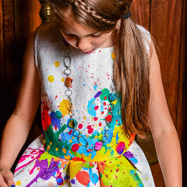 OMG This Dress by Tiffany Serijna - Babies & Children Children Candids ( colorful, innocent, raelyn, paint, candid, fun, long, brown hair, cute, rae, sun, outside, portrait )