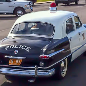 Keystone cop by Jim Harris - Transportation Automobiles ( old cop car, cop car, black and white, police car, antique )