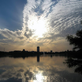 cloudy morning by Mihai Nita - City,  Street & Park  Vistas ( clouds, waterscape, sun rise, water-mirror, silver light )