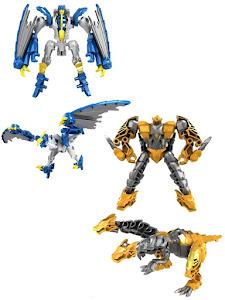 Набор роботов-трансформеров драконов, синий и желтый