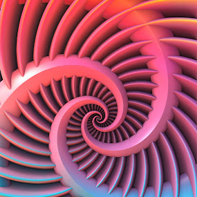 Opposing Spirals by Lyle Hatch - Illustration Abstract & Patterns ( spirals, pattern, 3d, mandelbulb 3d, 3-d, curls, swirls, fractal, curves, three dimensional, repeating, repetition )