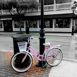 This pink bicycle was leaning against the lamp post on Duvall street in Key West. So, I did this one using focal black and white. by Dana Wilson - Transportation Bicycles (  )