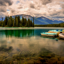Jasper Lake by Joseph Law - Landscapes Waterscapes ( national park, rocky mountains, boats, reflections, trees, lake, jasper )
