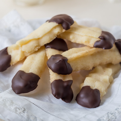 Gluten Free Shortbread Cookies dipped in Chocolate