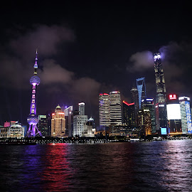 SHANGHAI AT NIGHT by Zac Rushbrook - City,  Street & Park  Skylines ( city, light, shanghai, dark, photo )