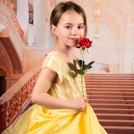 Beauty by Sarah Tregear - Babies & Children Child Portraits ( studio, red, dress, beauty, redrose, yellow, rose, beast, portrait )