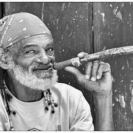 Men with the Cigar 1 by Simona Susino - Black & White Portraits & People (  )
