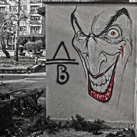 Smile by Mario Denić - City,  Street & Park  Neighborhoods ( čair, joker, black and white, street art, niš )