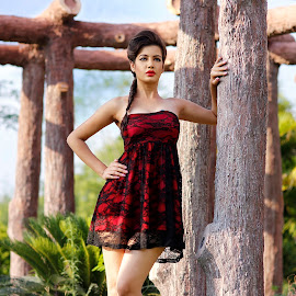 standing tall by Rakesh Kurra - People Fashion ( poll, red, girl, grass )