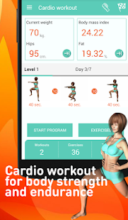 Cardio workout - exercises Fitness app screenshot for Android