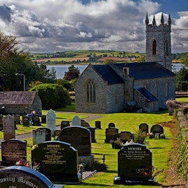 Beautiful Irish Church and Graveyard by Sparty Rodgers - City,  Street & Park  Cemeteries ( d300s, fahan, ireland, churches, landscapes )