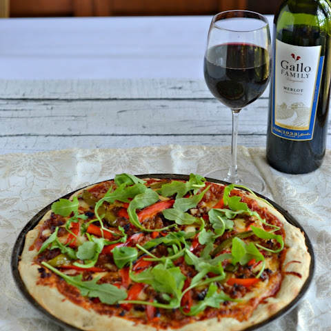 Roasted Pepper and Chorizo Pizza with Arugula