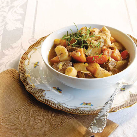 Beef and Root Vegetable Stew with Rosemary Dumplings