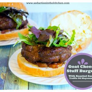Goat Cheese Stuff Burgers With Roasted Garlic Truffle Oil Mayonnaise