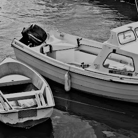 Boats by Kelly Lippitt - Novices Only Objects & Still Life ( black and white, boats, floating, sea, dock )