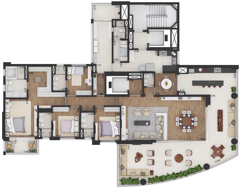 Planta Tipo Opção 1 - 4 Suítes - 325,90 m²