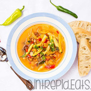 Romanian summer yellow beans broth with vegetables. Meat optional.