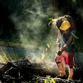Work harder by Ramlan Abdul Jalil - People Street & Candids ( natural light, palm oil, bunches, light, people, rays, fields, oil palm )
