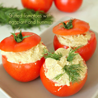 Stuffed Tomatoes With Mashed Eggplant And Garlic Hummus