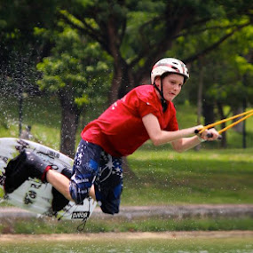 Young Kid Cable-Skiing by Kai Jian - Sports & Fitness Watersports