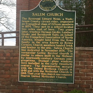 SALEM CHURCH The Revered Edward Weiss, a Washtenaw County circuit rider, organized an Evangelical class of fifteen members in 1874. They met in a school located two miles east of here. Two years ...