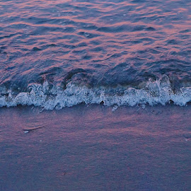 waves against the shore by Magdalena Sitko - Nature Up Close Water ( water, shore, purple, simplicity, sunset, waves, ocean, beach, atlantic )