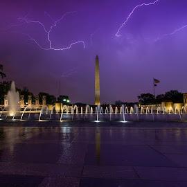 by Nathan Porath - City,  Street & Park  Night ( lightning, washington dc, rain, purple, monument, memorial, storms,  )