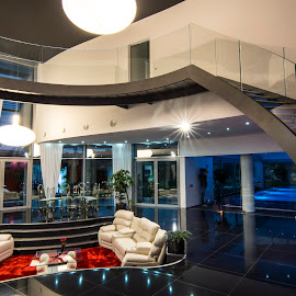 Axel 3 by Lucian Pirvu - Buildings & Architecture Homes ( railing, stairs, red carpet, living room, glass, living, black, room,  )