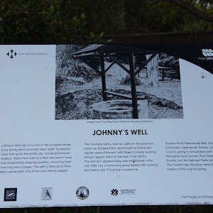 Plaque reads: 'Johnny's Well was not a well in the accepted sense, but a spring which provided clean water to passing ships from ports the world over, including American whalers. Water from Johnny's ...