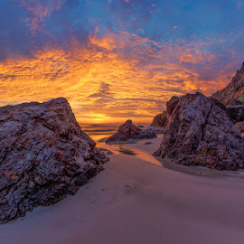 by Dom Del - Landscapes Sunsets & Sunrises ( water, clouds, sand, sea, ocean, sunrise, rocks )