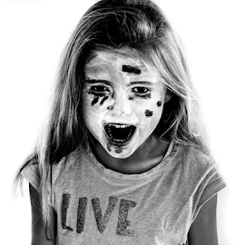 Halloween by Atle Bogen - People Family ( home, girl, black and white, makeup, halloween )