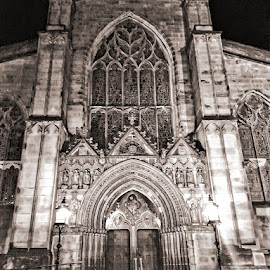 by Lisa Kirkwood - Buildings & Architecture Architectural Detail ( scotland, building, sepia, edinburgh, cathedral, landscape )