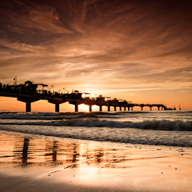 Miedzyzdroje Poland by Robert  Płóciennik - Buildings & Architecture Bridges & Suspended Structures ( miedzyzdroje, sunset, bridge, sea, summer )
