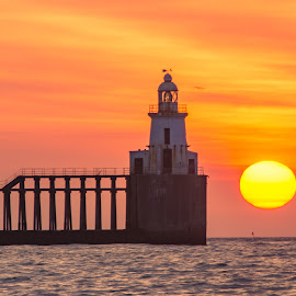 Blyth Pier and Lighthouse by John Fatkin - Buildings & Architecture Other Exteriors ( north sea, northumberland, sunset, lighthouse, sea, pier, sunrise, sun, blyth )