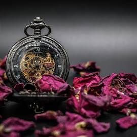 Pocket Watch with Roses by KRISTOPHER HILL - Artistic Objects Jewelry ( black background, dried roses, rose, pocket watch, pocketwatch, petals, watch, roses, jewelry, rose petals )