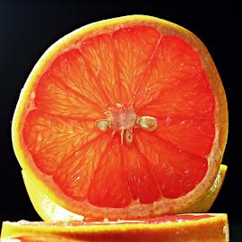 by Dipali S - Food & Drink Fruits & Vegetables ( fragrance, orange, aroma, diet, green, slices, yellow, spring, tasty, fragrant, red, sweet, sliced, ripe, healthy, summer, grapefruit, natural, dessert )