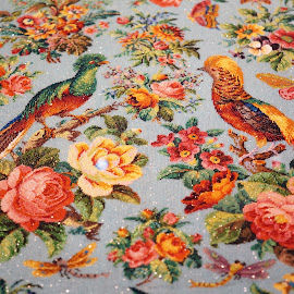 Peranakan Embrodery by Alice Chia - Artistic Objects Antiques ( sewing, threads, embrodery, flowers, birds, pernakan )