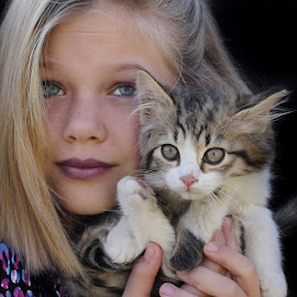 Girl and kitten by Lize Hill - Babies & Children Child Portraits