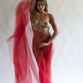 Guenuche with red scarf by Tatjana GR0B - Nudes & Boudoir Artistic Nude