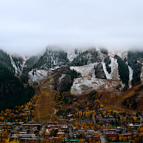 First Snow by Seamus Crowley - Landscapes Mountains & Hills ( orange, mountain, snow, colorado, cloud, storm, aspen )