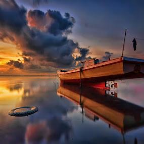Morning Reflection by Hendri Suhandi - Landscapes Sunsets & Sunrises ( bali, tuban, sunset, cloud, long exposure, sunrise, boat, landscape, sun )