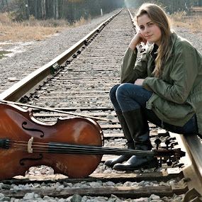 Railroad tracks, cello and my beautiful daughter ~ by Gina Jordan Morrison - Novices Only Portraits & People