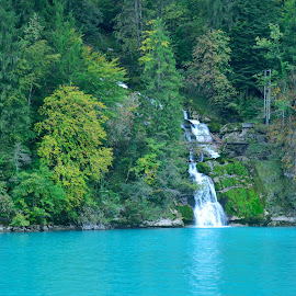 Into the lake by Ushashi Banerjee - Novices Only Landscapes ( waterfalls, blue, giessbach, falls, lake )